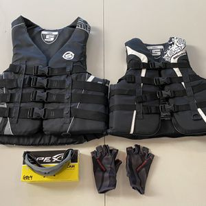 Seadoo Life Jackets Vests Adult Large & Small + Gloves + Goggles for Sale in Miami, FL