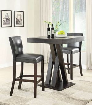 Square Bar Table cappuccino finish + bar stool for Sale in Hialeah, FL