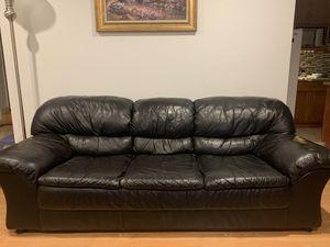 Leather black sofa for Sale in San Jose, CA