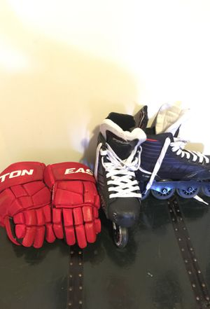 Roller blades and hockey gloves for Sale in Sterling, VA
