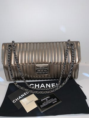 100% authentic Chanel Maharaja Express Patent Vertical Stripe Flap Bag - Pewter for Sale in San Diego, CA