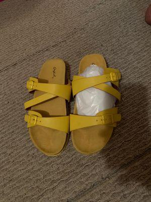 yellow birkenstock look a like sandals for Sale in Atlanta, GA