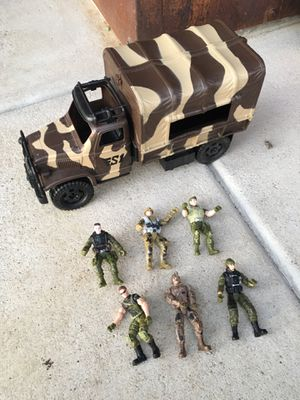 "Military truck and 6 soldiers. All in perfect condition! Truck is 14"" long. $10 for all FIRM for Sale in Vista, CA"