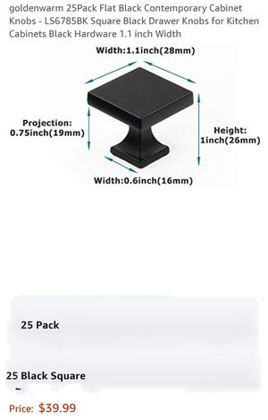 23Pcs Flat Black Cabinet Knobs LS6785BK Square Black Drawer Knobs For Kitchen Cabinets for Sale in South Gate, CA