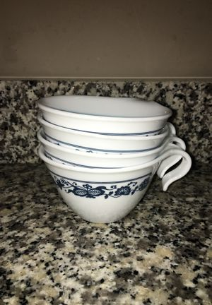 Set of 4 Vintage Corelle Livingware Old Town Blue (1972-1982) coffee cups for Sale in Westerville, OH