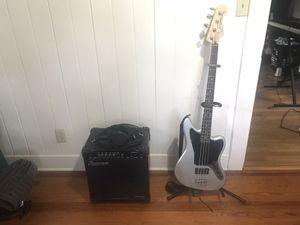 Jaguar Squier Bass Guitar Kit w Amp Stand Shoulder Strap and more for Sale in Orlando, FL