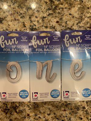 """Mylar balloons """"ONE"""" for Sale in Manassas Park, VA"""