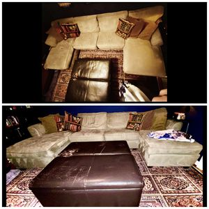 Sectional With Pull Out Sleeper Sofa & Ottoman With Storage for Sale in Seattle, WA