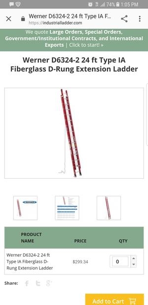 24ft fiberglass ext. Ladder for Sale in Jacksonville, FL
