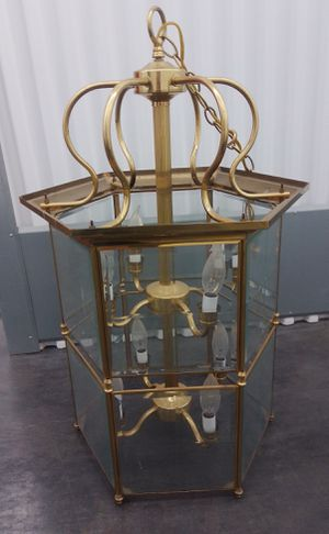 Antique brass and glass hanging lamp for Sale in St. Louis, MO
