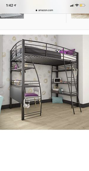 New dhp studio loft bunk bed over desk with bookcase, grey for Sale in Dublin, OH