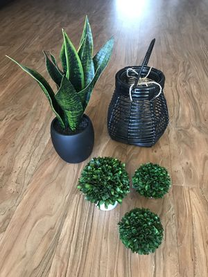 Fake plants and candle carrier for Sale in Alexandria, VA