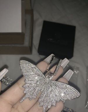 White Gold Butterfly Pendant Chain for Sale in Montclair, CA
