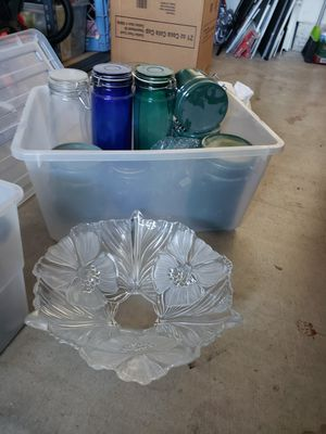Glass vase, glass storage containers, fruit bowls, ceramic dip tray for Sale in Corona, CA
