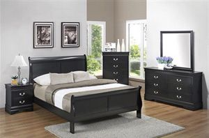Louis Philippe 4 Piece Bedroom Set in Black Finish for Sale in Naples, FL