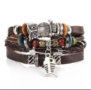 Unisex Multi Layer Leather Bracelet-Brown- Owl 🦉/ Fish 🐠 for Sale in Dallas, TX