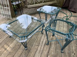 Beautiful Two Glass and iron End Tables and Coffee Table. for Sale in Bowie, MD