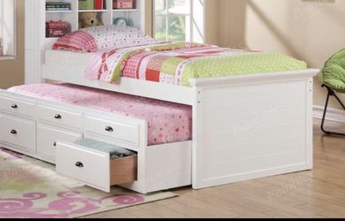 Twin bookcase. Trundle and drawers. Mattress no included. Price or firm for Sale in Diamond Bar,  CA