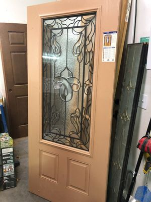 "Brand new fiberglass entry door with triple glazed leaded glass. 36""wide for Sale in Pasco, WA"