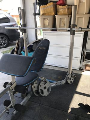 Olympic bench press squat combo weight set. for Sale in Rosemead, CA