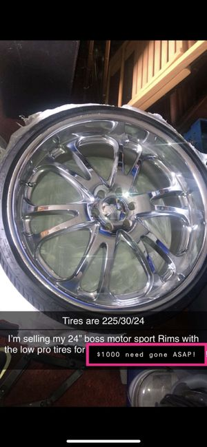 24 inch chrome rims W/tires 6 lugs NEED GONE ASAP!! best offer for Sale in Seattle, WA