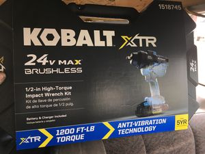 Kobalt 24v MAX BRUSHLESS 1/2in high torque impact wrench kit for Sale in Olympia, WA