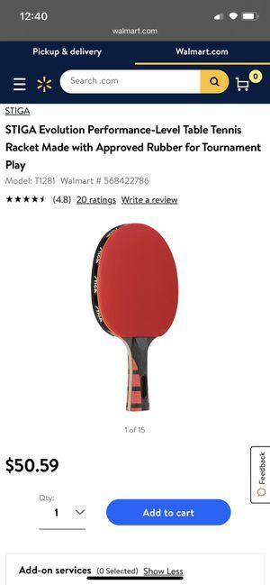 Stiga evolution table tennis paddle/racket for Sale in Artesia, CA