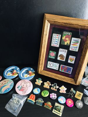 Set Lot of 8 USPS Love Pins. Sailor Moon, Panasonic Pins. for Sale in Hoffman Estates, IL