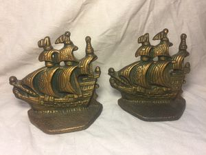 1960 Vintage Brass Ship Sail Bookends Book Ends Stand Shelves for Sale in Des Plaines, IL