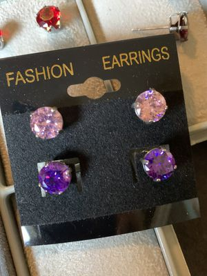 2 Pair Simulated diamond post earrings for Sale in Pompano Beach, FL