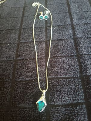 Blue pendant necklace with matching earrings for Sale in Lincoln, NE
