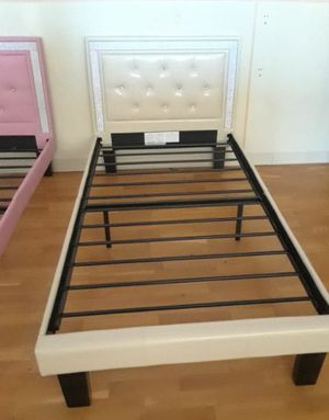 Beautiful White leather Twin size bed frame for Sale in Glendale, AZ