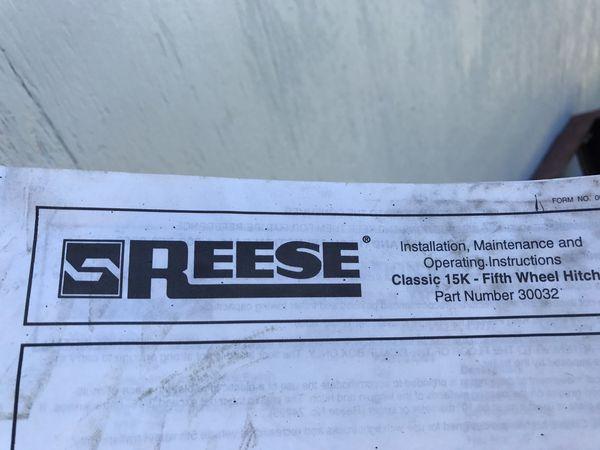 Reese hitch classic 15k no rails