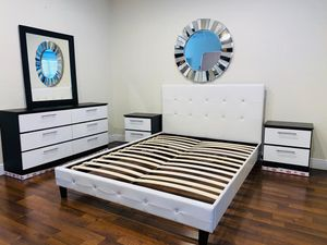 New queen bed frame mirror dresser and nightstands mattress is not included for Sale in Fort Lauderdale, FL