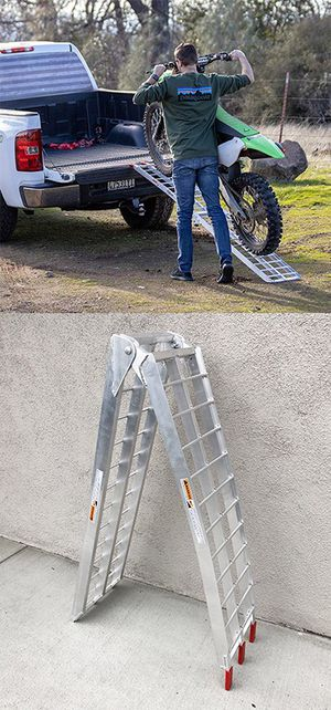 New in box $60 Single 7.5ft Aluminum Motorcycle Folding Loading Ramp Street Dirt Bike 750Lbs Rated for Sale in Downey, CA