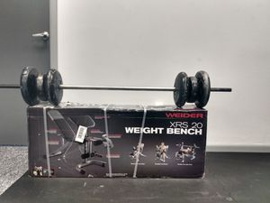 Gym bench new, with preacher arm curl & 80 lbs bar Adjustable plates!! for Sale in Denville, NJ