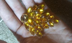 Huge vintage Amber glass rhinestone brooch for Sale in Tullahoma, TN