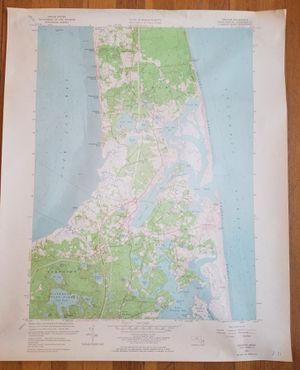 """Vintage 1962 Geological Survey Map of Chatham and Orleans Cape Cod Mass 22"""" x 27"""" for Sale in Providence, RI"""