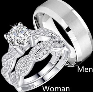 New 18 k white gold engagement ring wedding ring set men's and women ring for Sale in Orlando, FL