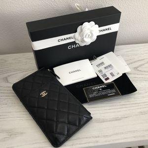 Chanel black phone wallet caviar light gold hardware for Sale in Huntington Beach, CA