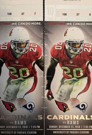 Two Cardinals vs. Rams tickets, December 23rd. Section 108. Great seats!! Parking pass included. $350 OBO for Sale in Scottsdale, AZ