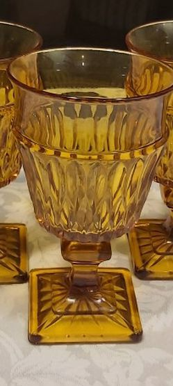 (3) Vintage Indiana Amber Glass Goblets for Sale in Everett,  WA