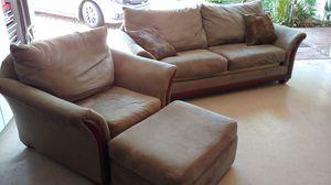 Green/Wood Couch, Love Seat and Chait with Ottoman for Sale in Boca Raton, FL