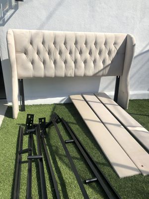 Beautiful upholstered, winged king size bed (no mattress) for Sale in Huntington Beach, CA