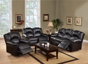 Reclining sofa and love seat black for Sale in Hialeah, FL