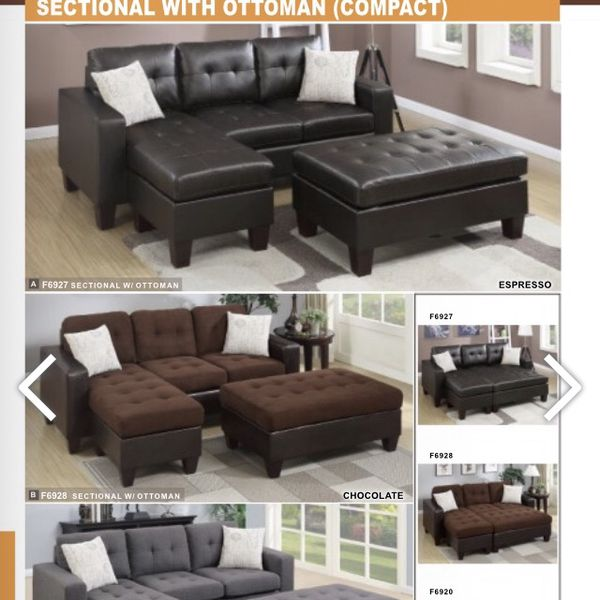3Pcs Sectional Sofa With Ottoman
