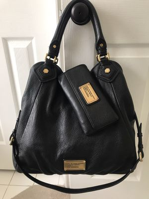 Marc Jacobs Black Large Leather Tote Purse & Wallet Set for Sale in Spring, TX