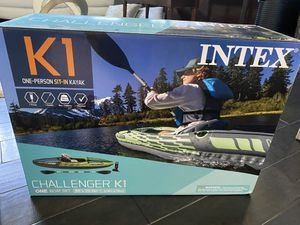 Intex Challenger K1 Inflatable Kayak with Oar and Hand Pump Brand new in box for Sale in Garland, TX