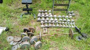HUGE dumbbell lot, weight plates, 2 benches, rack, barbell bar for Sale in Longwood, FL
