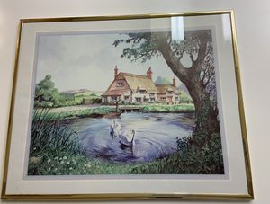 Vintage print of a cottage with swans for Sale in Lompoc, CA